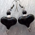 Black heart with white beads Earrin..