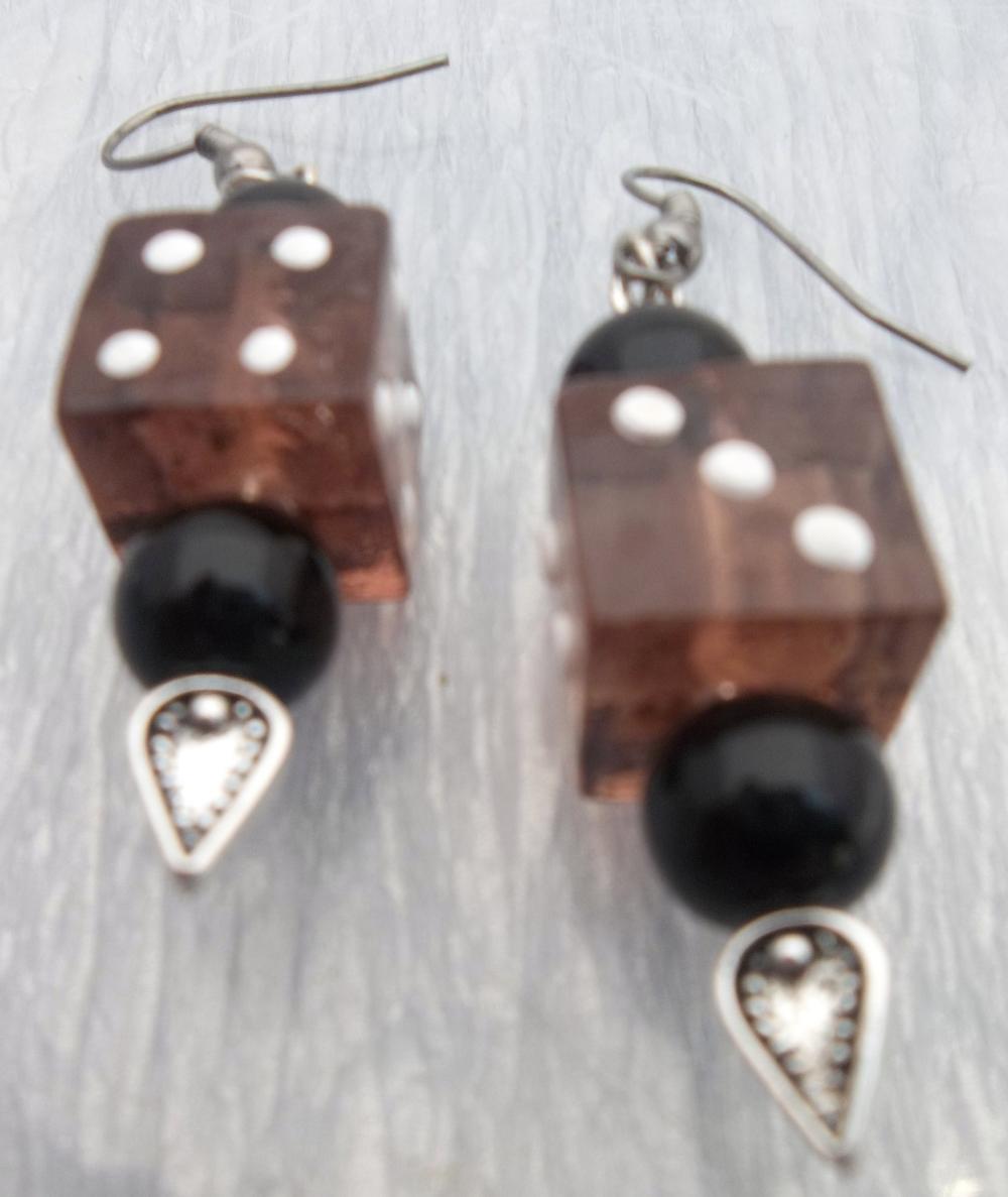 Amber Glass Dice Earrings ~ Funky!!