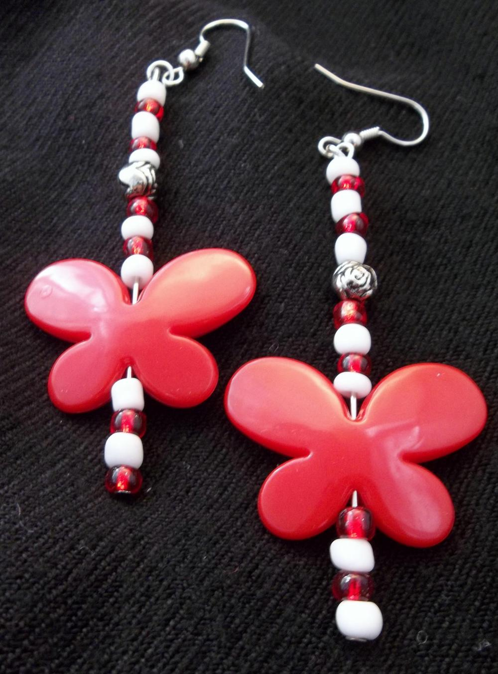 Red and White Butterfly earrings