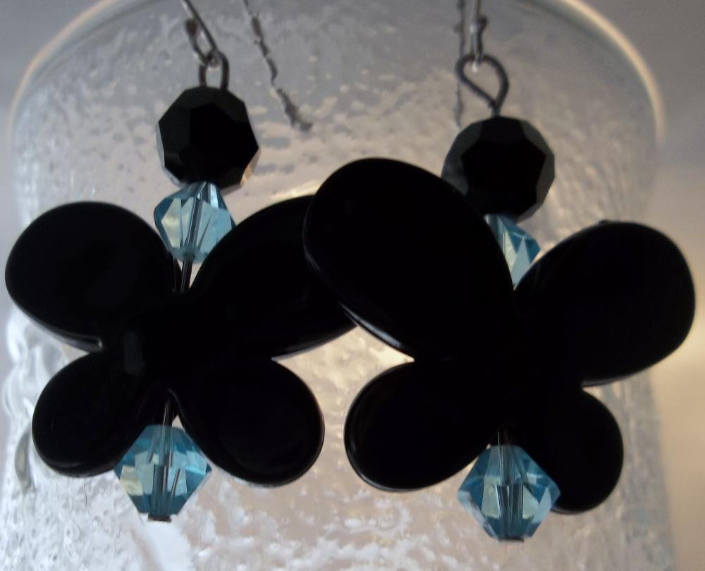 Black Butterfly with teal bead accents earrings