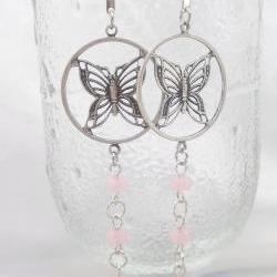 FUN Pink and Butterflies long dangle earrings