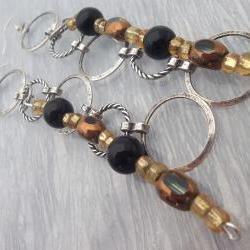 Silver metal circles, Amber and Black beads, Dangling Earrings