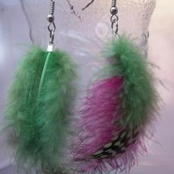 Bright Green and Hot Pink feather earrings