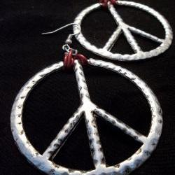 Metal Art Peace Sign Earrings, wire-wrapped