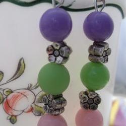 Purple, green, and Pink Beaded Earrings