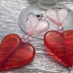 Pink and Red Hearts Earrings