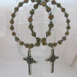 Green and Silver Cross Earrings