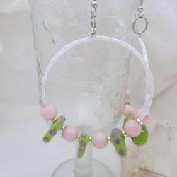 Pink and Green Lampwork earrings